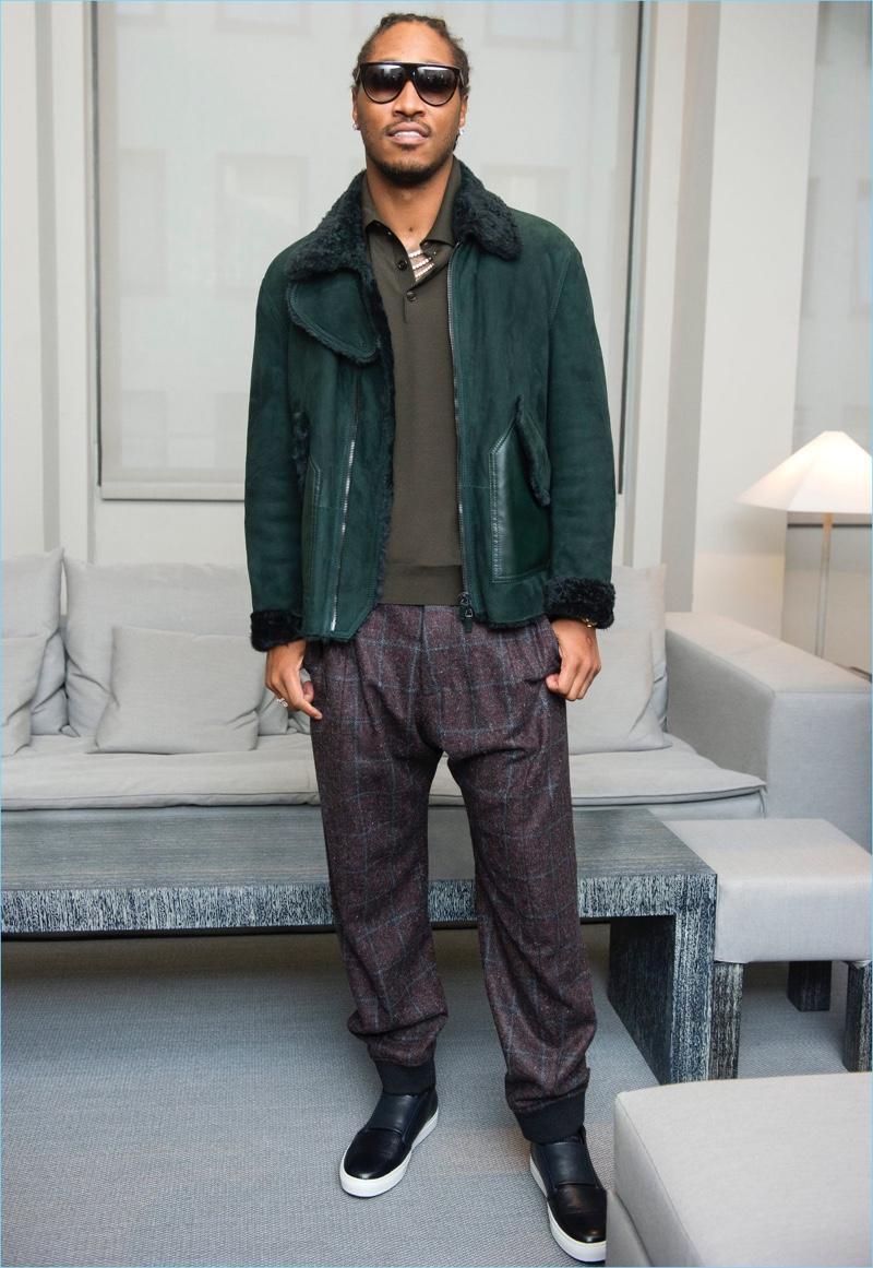 American rapper Future dons Giorgio Armani for the designer's fall-winter 2017 men's show.