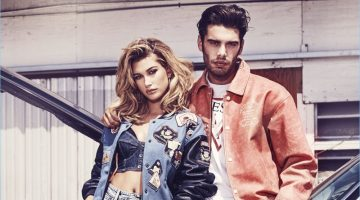 Hailey Baldwin and Stefano Sala star in GUESS Jeans' spring-summer 2017 campaign.