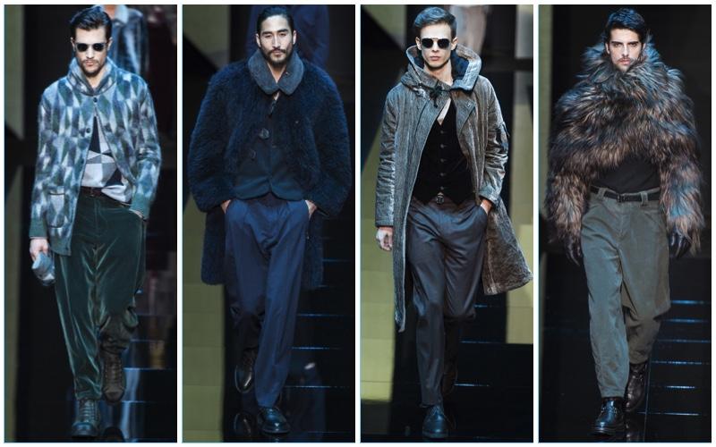 Giorgio Armani presents its texture rich fall-winter 2017 men's collection.