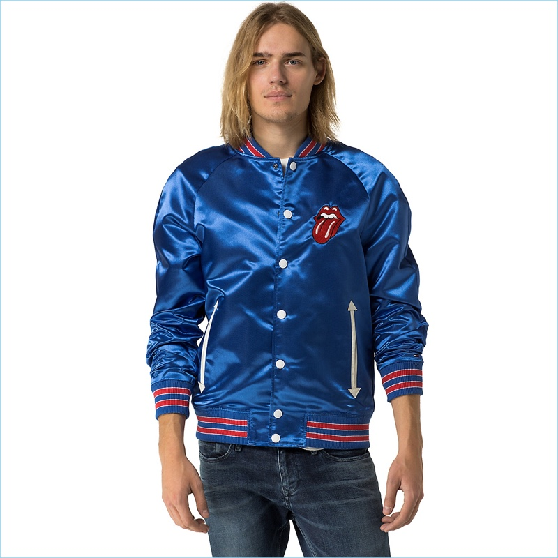 Tommy Hilfiger men's jacket. The old school varsity jacket is brought back in satin that nods to the days of roller rinks and teen heart-throbs . From the Rolling Stones collection, our rock 'n' roll capsule inspired by the legendary band.