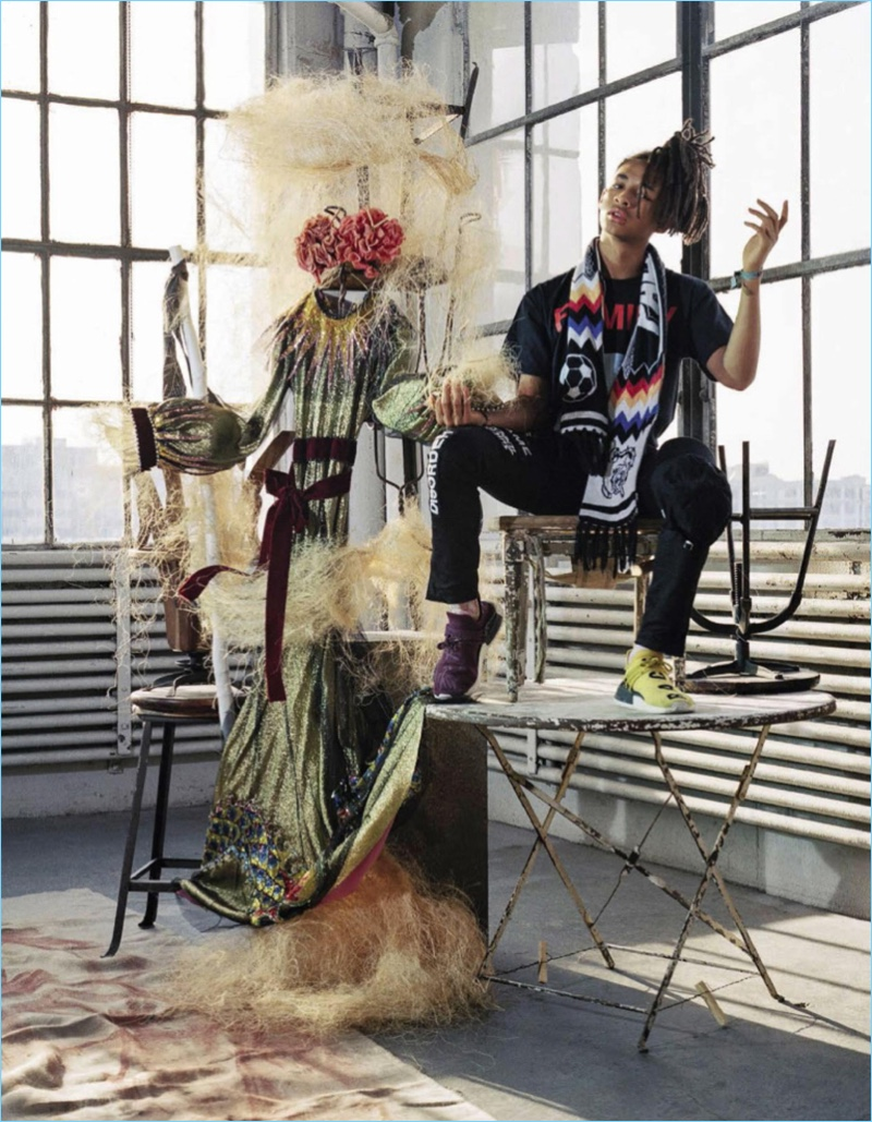 Jaden Smith appears in a quirky photo shoot for the January 2017 issue of Vogue Italia.