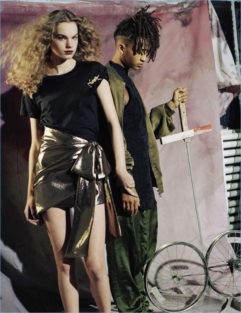 Appearing in a photo shoot for Vogue Italia, Jaden Smith links up with Estella Boersma.