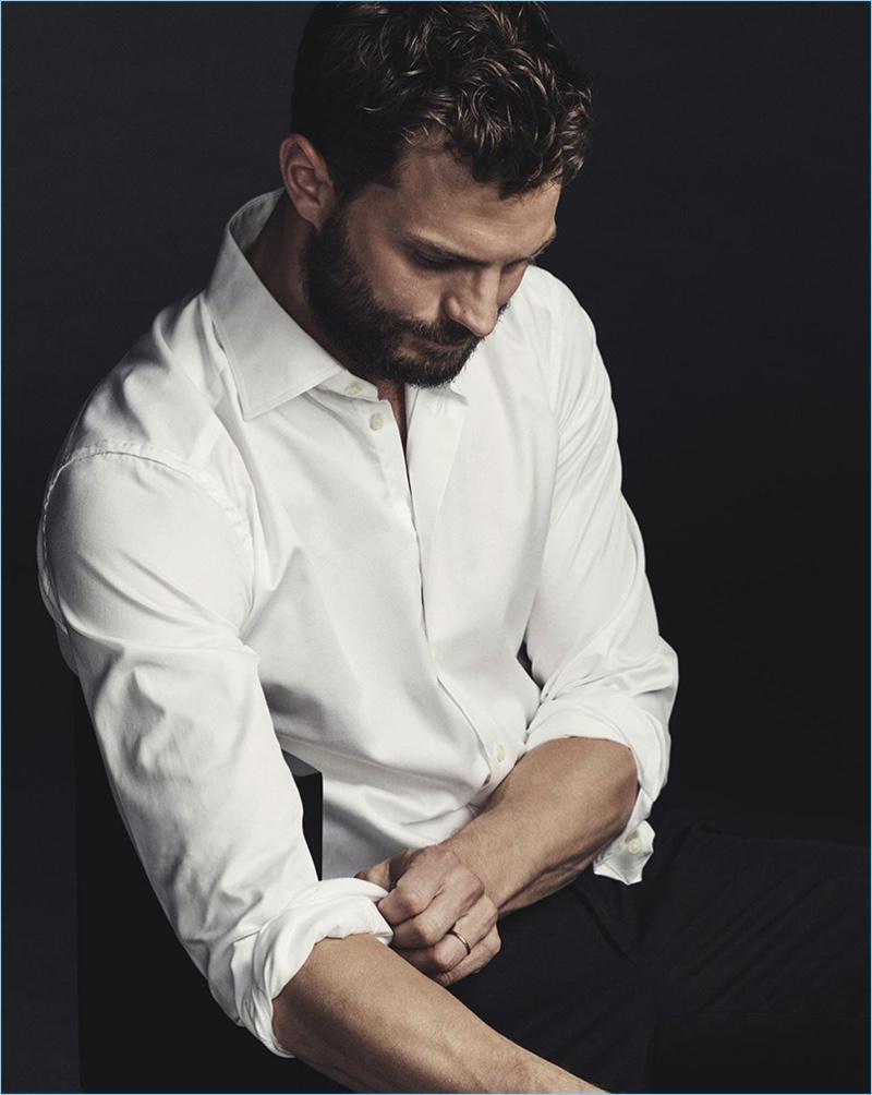 Fifty Shades Darker star Jamie Dornan wears a crisp white Neil Barrett shirt for GQ Australia.