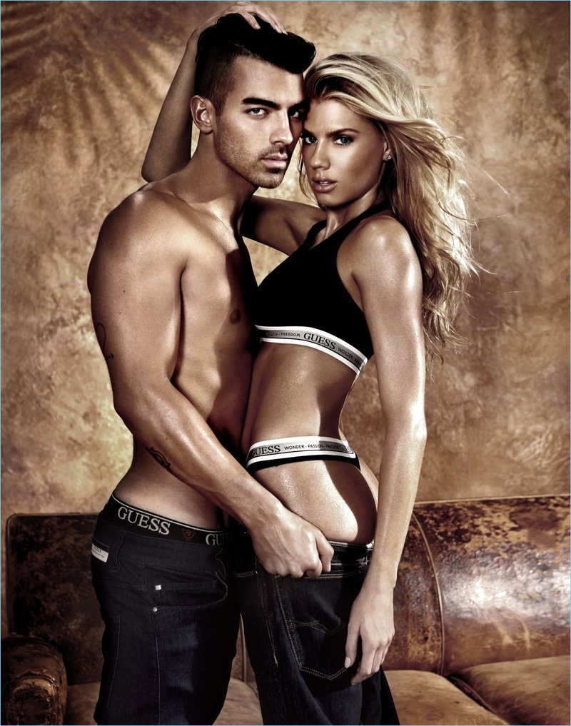 Joe Jonas and Charlotte McKinney star in GUESS' spring-summer 2017 underwear campaign.