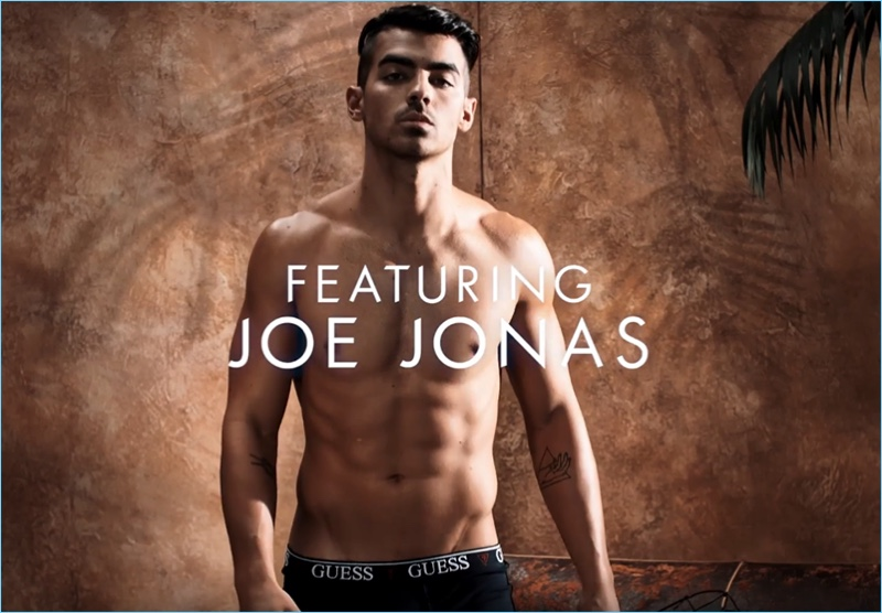 A still featuring Joe Jonas in his GUESS Underwear campaign video.