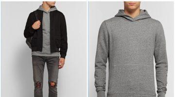 John Elliott Villain Cotton Jersey Hoodie in Grey