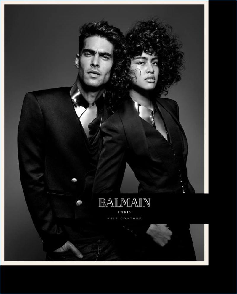 Models Jon Kortajarena and Luz Pavon front Balmain Paris Hair Couture's spring-summer 2017 campaign.
