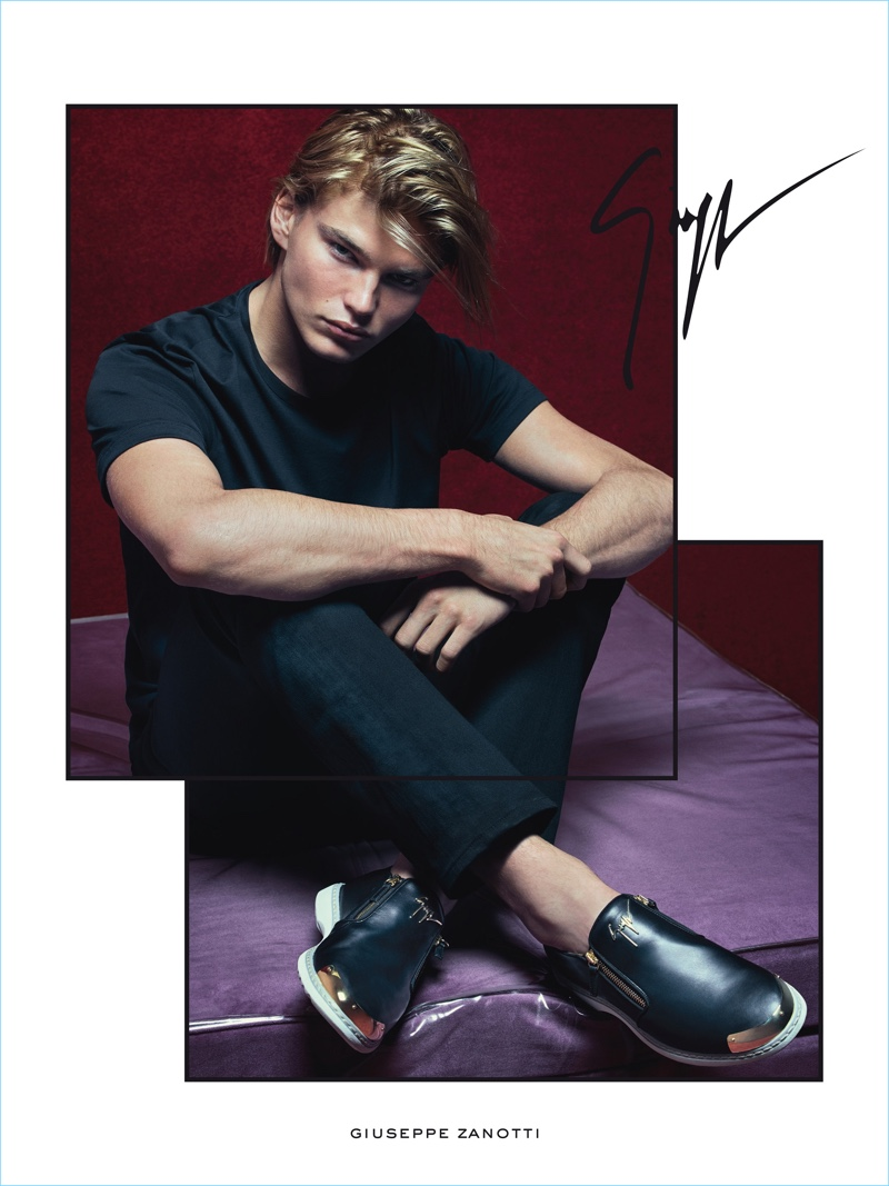 Model Jordan Barrett is front and center in Giuseppe Zanotti's Cooper leather side-zip loafers for the brand's spring-summer 2017 campaign.