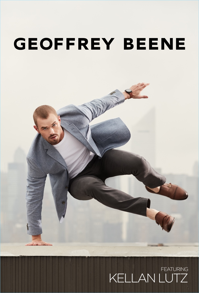 Kellan Lutz leaps into action for Geoffrey Beene's  new advertising campaign.