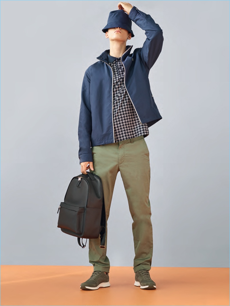 Abiah Hostvedt wears a casual look from Lacoste's spring-summer 2017 men's collection.
