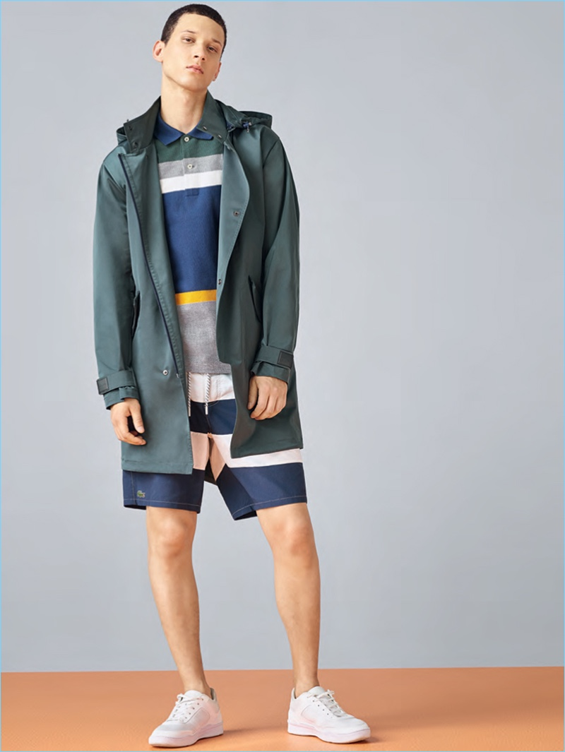 Lacoste embraces color blocked styles for its spring-summer 2017 men's collection.