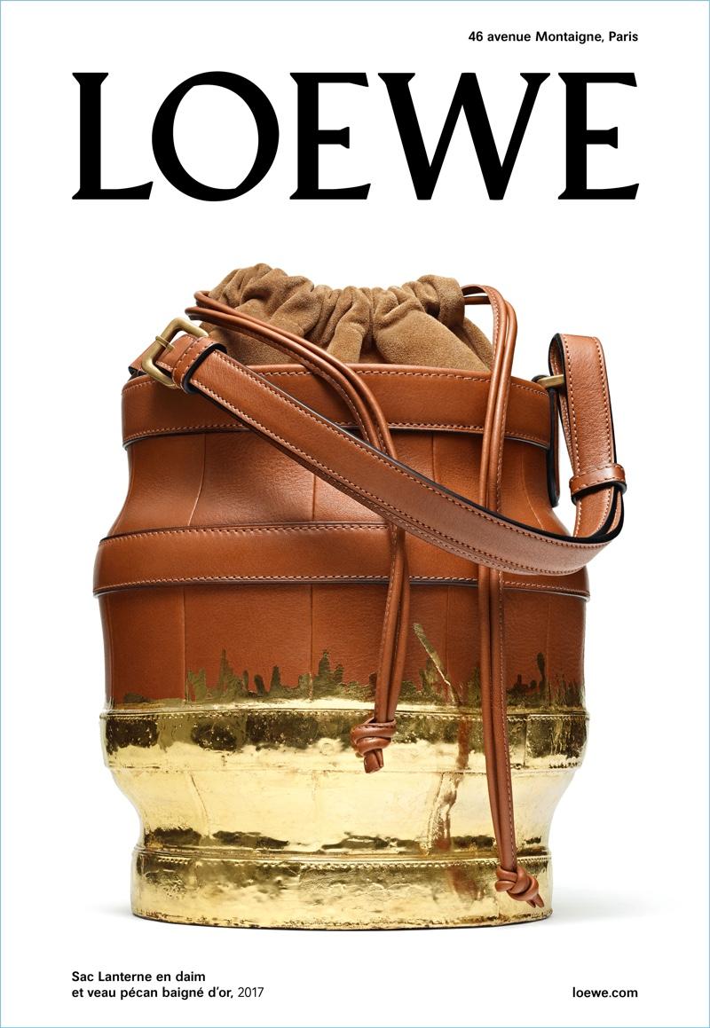 Loewe's fall-winter 2017 campaign highlights its bucket-shaped Lantern bag.