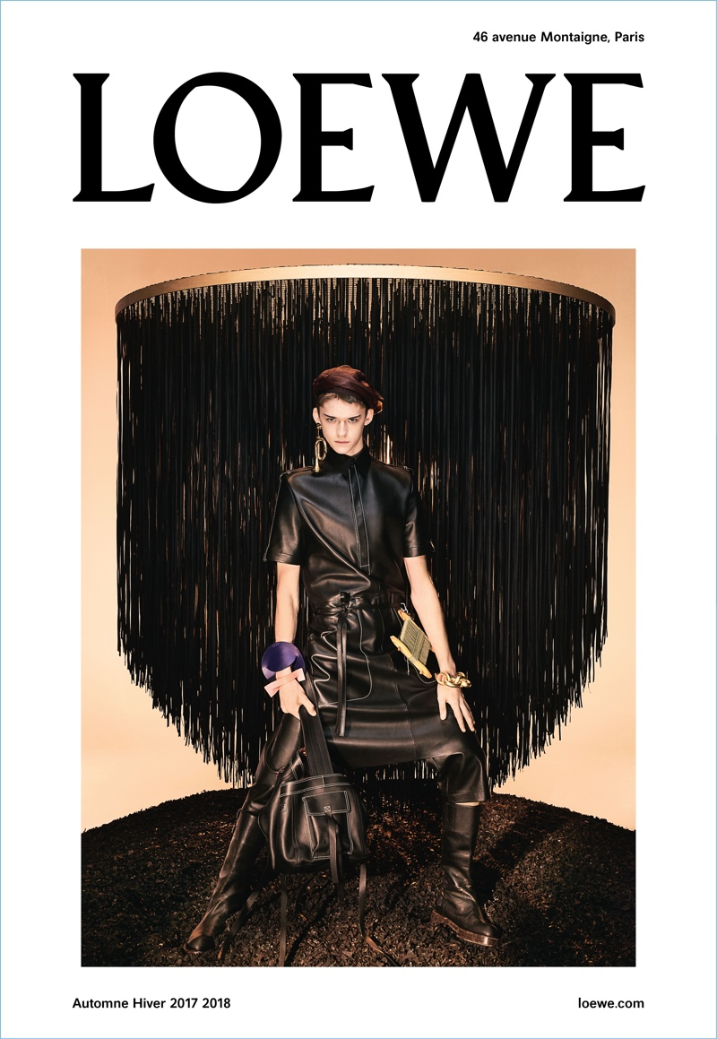 Model Max Overshine wears a leather look for Loewe's fall-winter 2017 men's campaign.