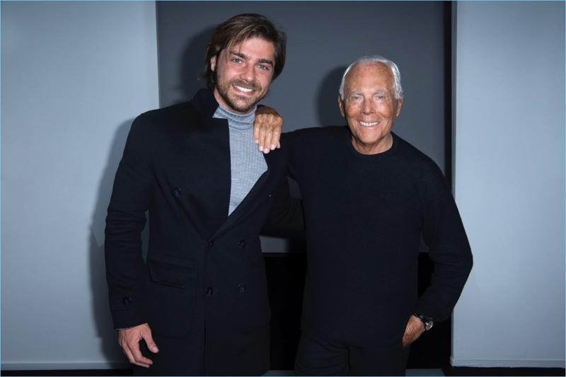 Actor Lourenço Ortigão poses for pictures with Giorgio Armani.