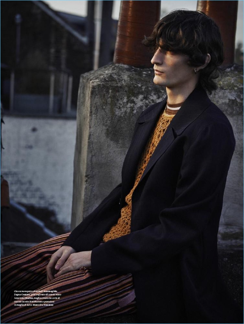 Serge Leblon photographs Luca Lemaire in spring clothes by Ermenegildo Zegna Couture and Neil Barrett.