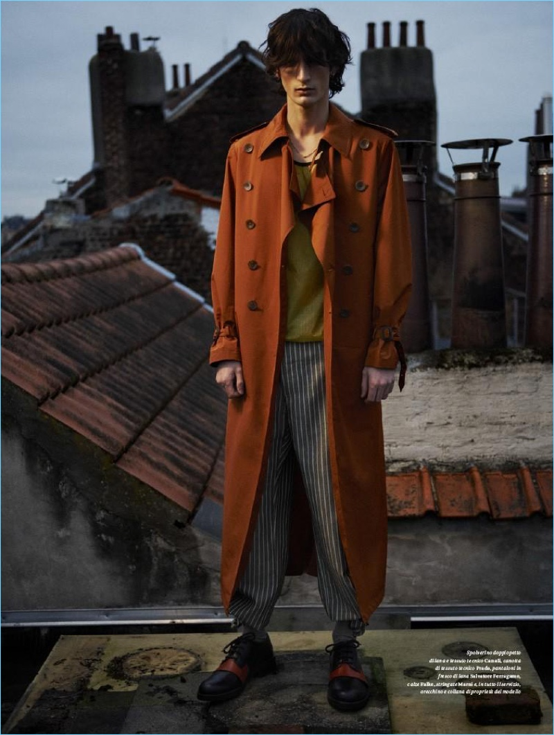 Model Luca Lemaire is a style standout in Canali, Prada, Marni, and Salvatore Ferragamo.