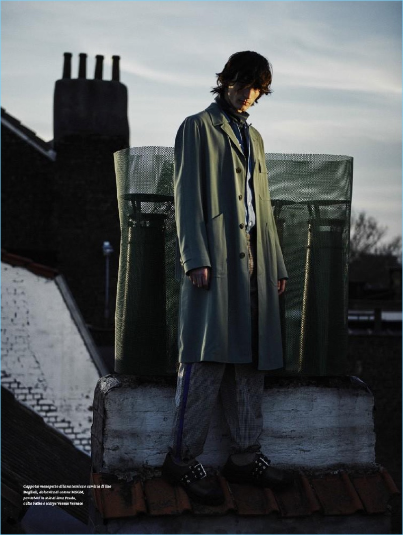 Standing tall, Luca Lemaire wears MSGM, Boglioli, and Prada for L'Officiel Hommes Italia.