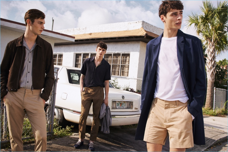 Mango Man creates a chic image for its spring-summer 2017 campaign, enlisting models Kit Butler, Matthew Holt, and Adrien Sahores.
