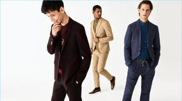Suit up for spring with a flair for color. Left to Right: Hideki Asahina wears a burgundy suit and sweater by Lanvin. Tidiou M'Baye dons a beige Berluti suit and sweater. Rogier Bosschaart models a linen Brunello Cucinelli suit and chambray granddad collar shirt.