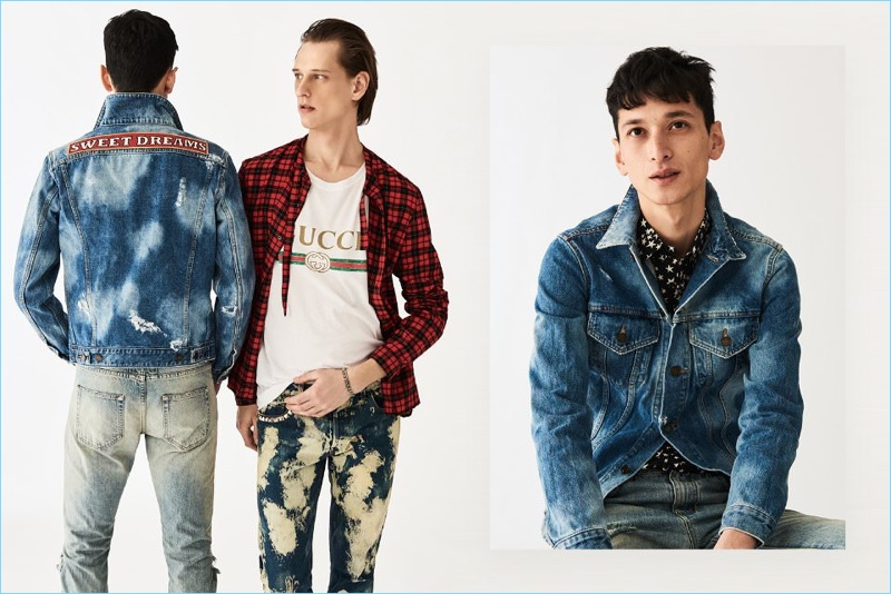 Stock up on designer denim with brands such as Gucci. Left: Rogier Bosschaart wears a Gucci red tie-neck checked shirt, logo t-shirt, acid-washed denim jeans, and chain bracelet. Right: Hideki Asahina models a Saint Laurent distressed denim jacket, skinny-fit denim jeans, and a star print shirt.