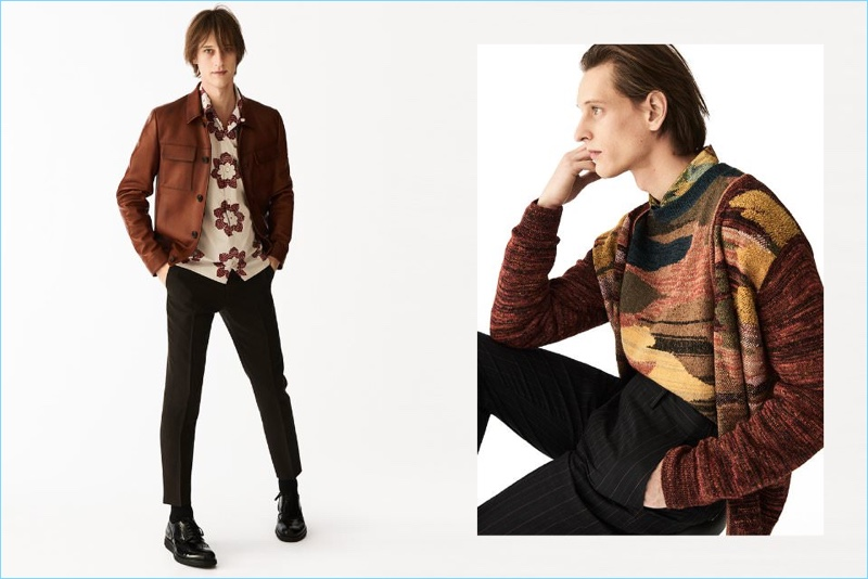 Tap into the 1970s style trend with fashion brands like Prada. Left: Rogier Bosschaart wears a leather jacket, camp collar printed shirt, cropped trousers, and brogues by Prada. Right: Rogier dons a jacquard knit cardigan, cashmere-blend sweater, satin shirt, and pinstriped trousers from Belgian designer, Dries Van Noten.