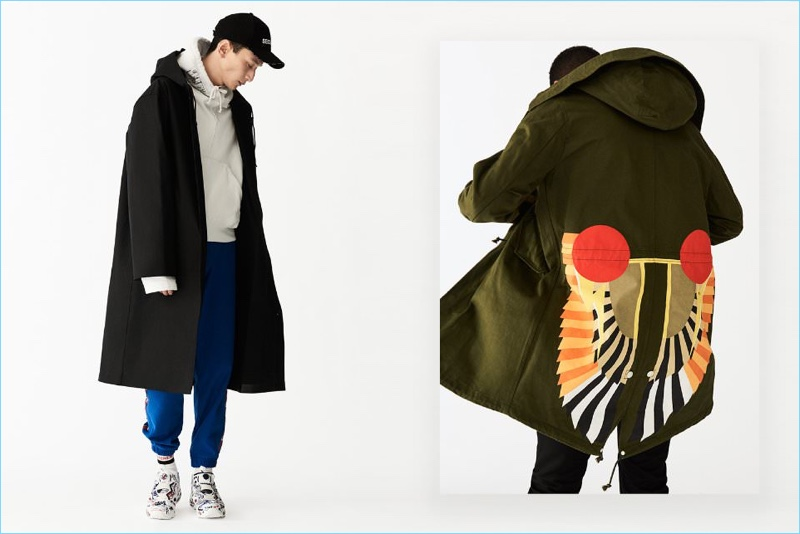 Channel 1990s style with a sporty vibe. Left: Hideki Asahina wears a Vetements x Mackintosh oversized raincoat with a hoodie and sweatpants by Vetements x Champion. Right: Tidiou M'Baye sports a printed cotton parka and denim jeans from Givenchy.