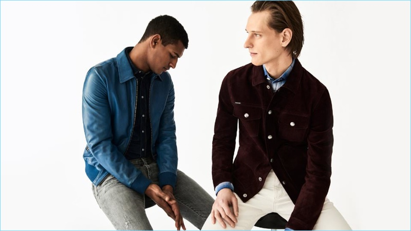 Fuel a retro indulgence with a luxurious new jacket. Left: Tidiou M'Baye wears a Dolce & Gabbana blue leather jacket, slim-fit denim shirt and denim jeans. Right: Rogier Bosschaart sports a Tom Ford slim-fit suede jacket, checked shirt, and selvedge denim jeans.