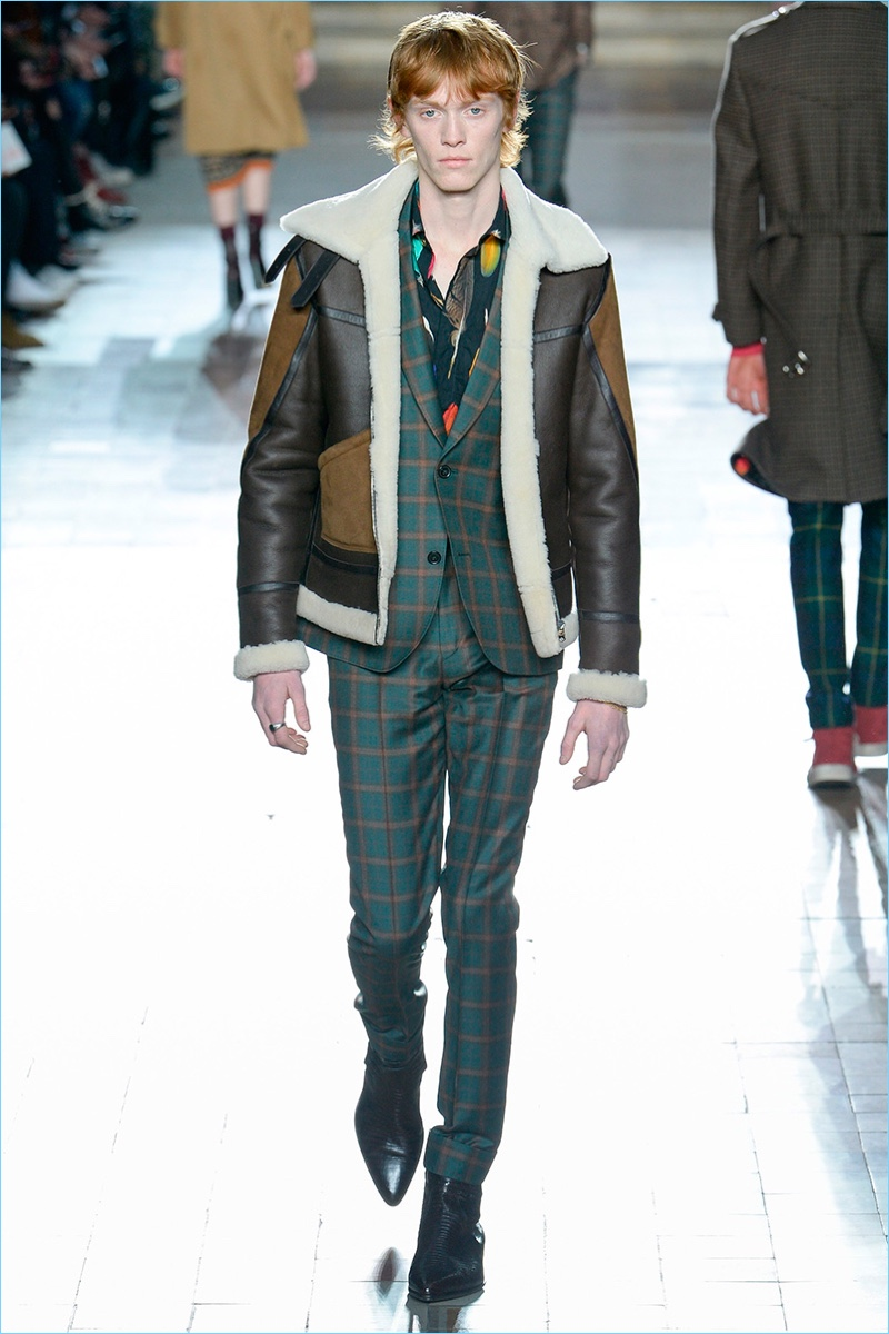 A short shearling jacket comes together with a graphic suit for Paul Smith's fall-winter 2017 men's collection.