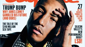 Pharrell rocks a Gucci leather biker jacket for the February 2017 cover of Esquire.