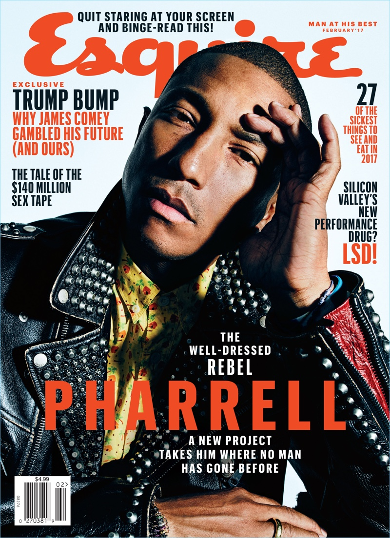 Pharrell is on Esquire's February 2017 Cover
