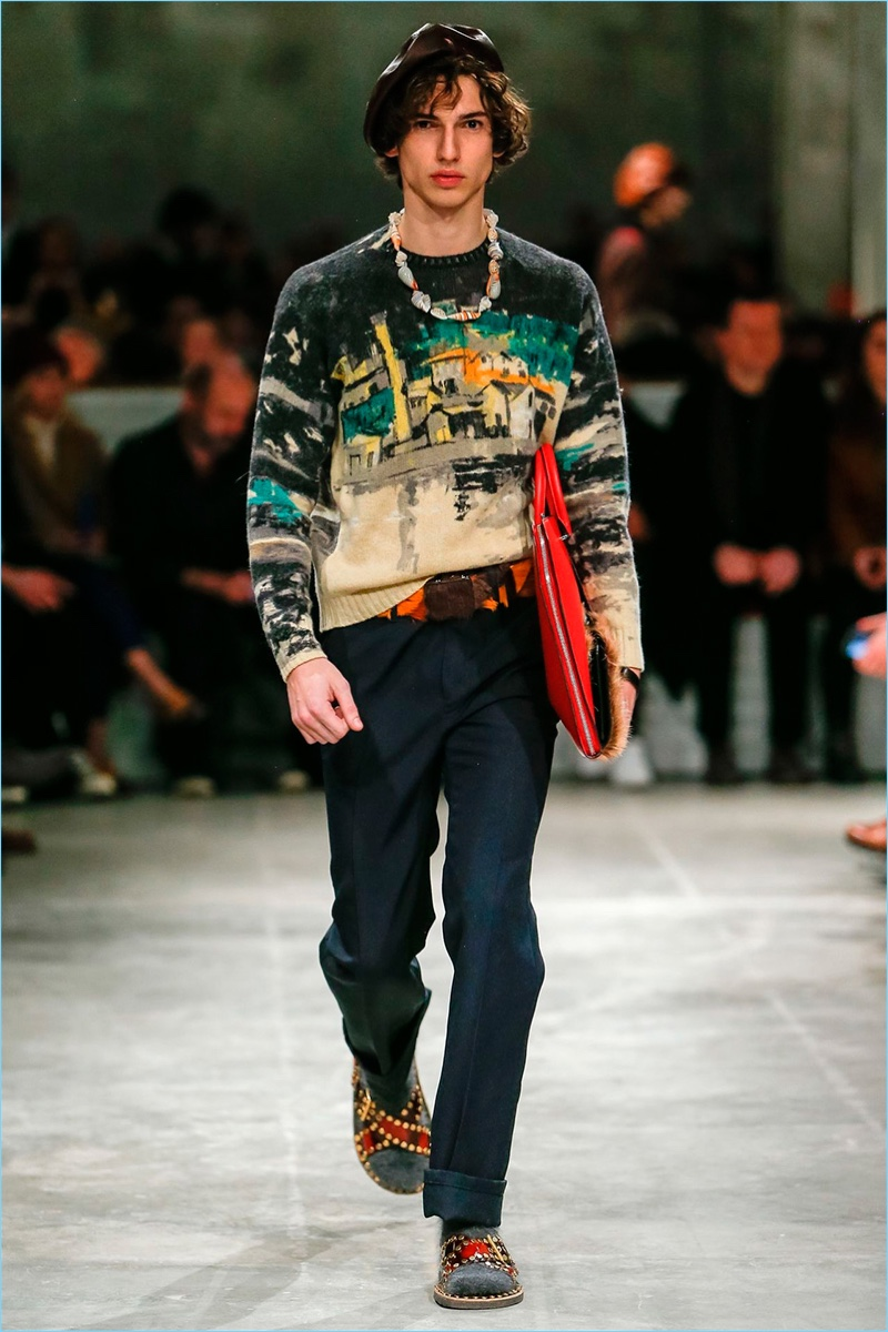 Italian brand Prada shows a graphic hand with its knitwear for fall-winter 2017.