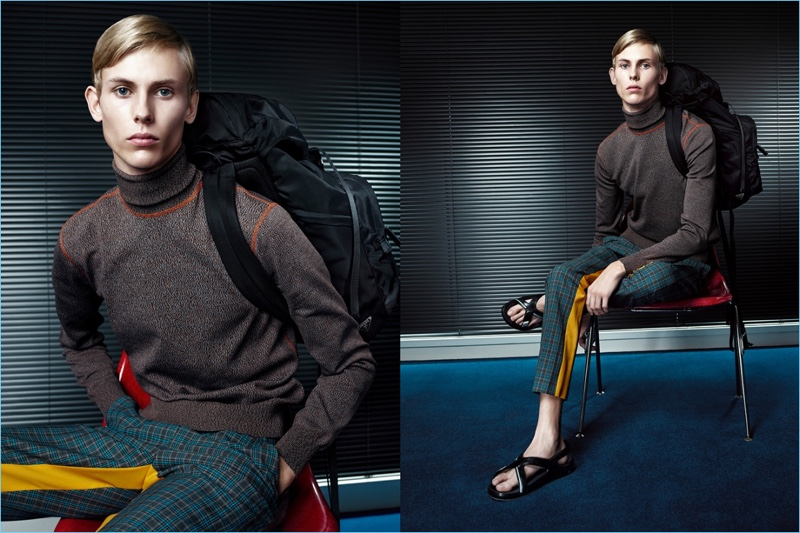 Oliver Houlby models a turtleneck sweater and plaid trousers for Prada's spring-summer 2017 campaign.