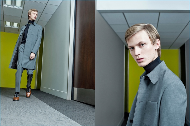 Jonas Gloer wears a single-breasted coat and slim trousers for Prada's spring-summer 2017 campaign.