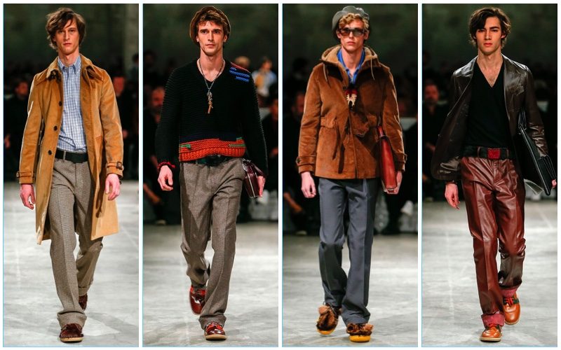 Prada channels 1970s style for its fall-winter 2017 men's collection.