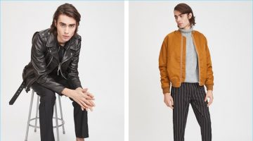 Embrace a casual cool by pairing slim trousers with a leather biker jacket or trendy bomber jacket. Left: Schott pebbled leather biker jacket, Chapter jacket, Helmut Lang standard fit cut hem tee, Stussy trousers, and Dr Martens Penton New Bar loafers. Right: Maiden Noir satin bomber jacket, Publish pinstripe pants, Stampd turtleneck sweater, and Puma Select Play Nude sneakers.