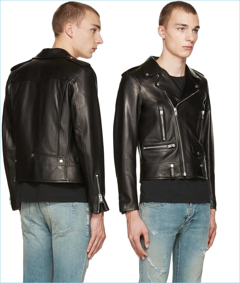 Saint Laurent Men's Shrunken Leather Biker Jacket