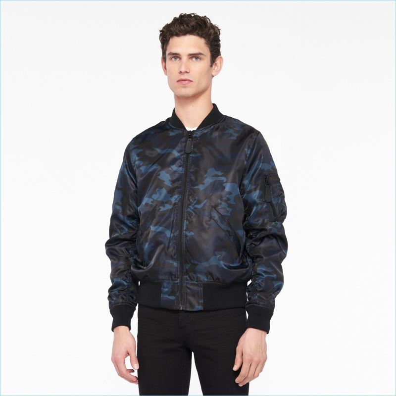 Sandro Men's Camouflage Bomber Jacket