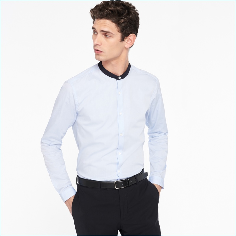 Sandro Men's Mandarin Collar Shirt