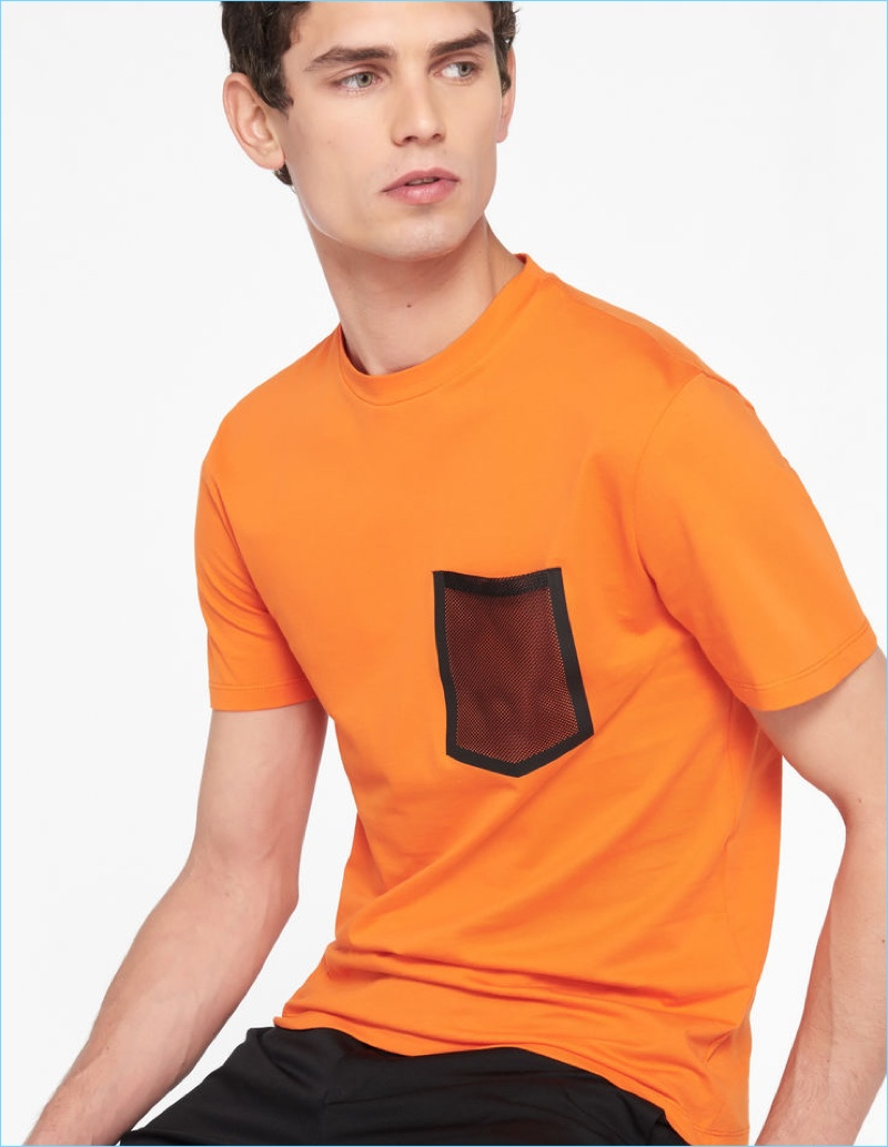 Sandro Men's T-Shirt with Mesh Pocket