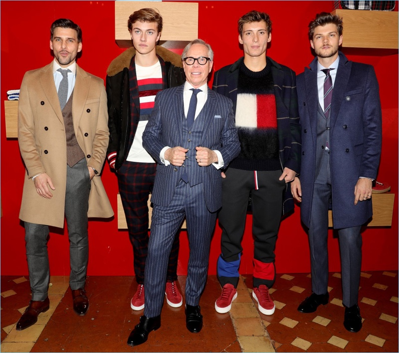 Johannes Huebl, Lucky Blue Smith, Julian Ocleppo, and Jim Chapman join Tommy Hilfiger for his fall 2017 presentation.
