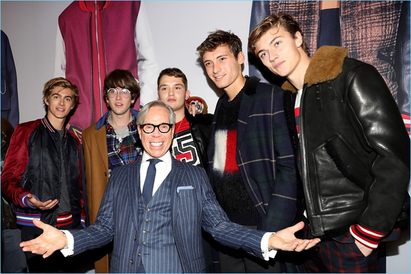 All smiles, Tommy Hilfiger poses with Presley Gerber, Gabriel-Kane Day-Lewis, Rafferty Law, Julian Ocleppo, and Lucky Blue Smith.