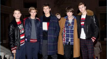 Rafferty Law, Presley Gerber, Julian Ocleppo, Gabriel-Kane Day-Lewis, and Lucky Blue Smith wear fall fashions from Hilfiger Edition.