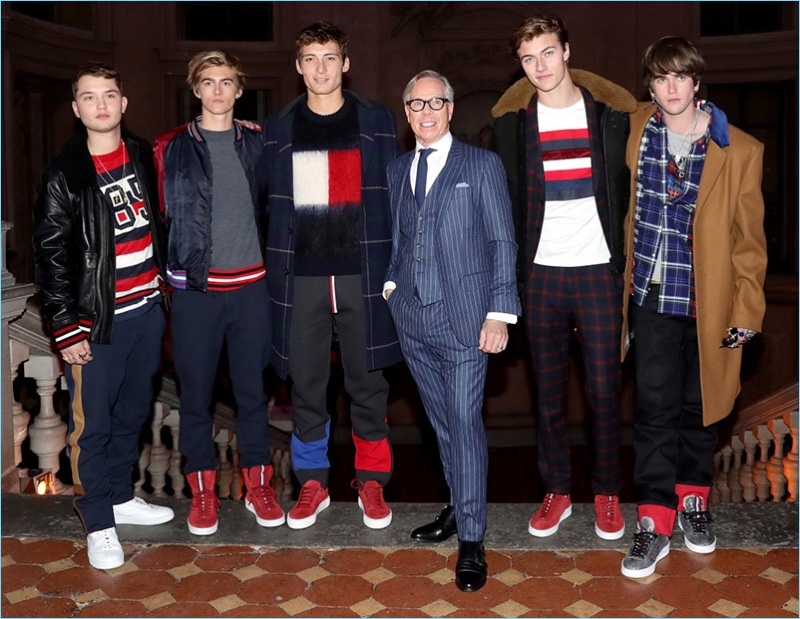 Designer Tommy Hilfiger is pictured with Rafferty Law, Presley Gerber, Julian Ocleppo, Lucky Blue Smith, and Gabriel-Kane Day-Lewis.