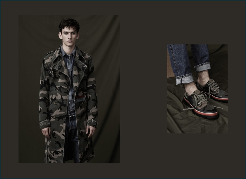 Standing at attention, Thibaud Charon sports a double-breasted coat and shoes from Valentino's ID Camouflage collection.