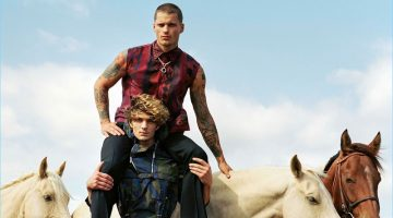 Vadim Ivanov and Jake Lahrman take to Kentucky for Versace's spring-summer 2017 men's campaign.
