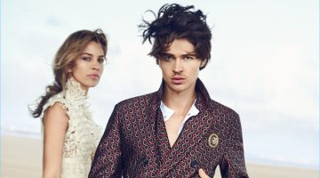 Will Peltz is dashing in a trim double-breasted suit as the face of Ermanno Scervino's spring-summer 2017 campaign.