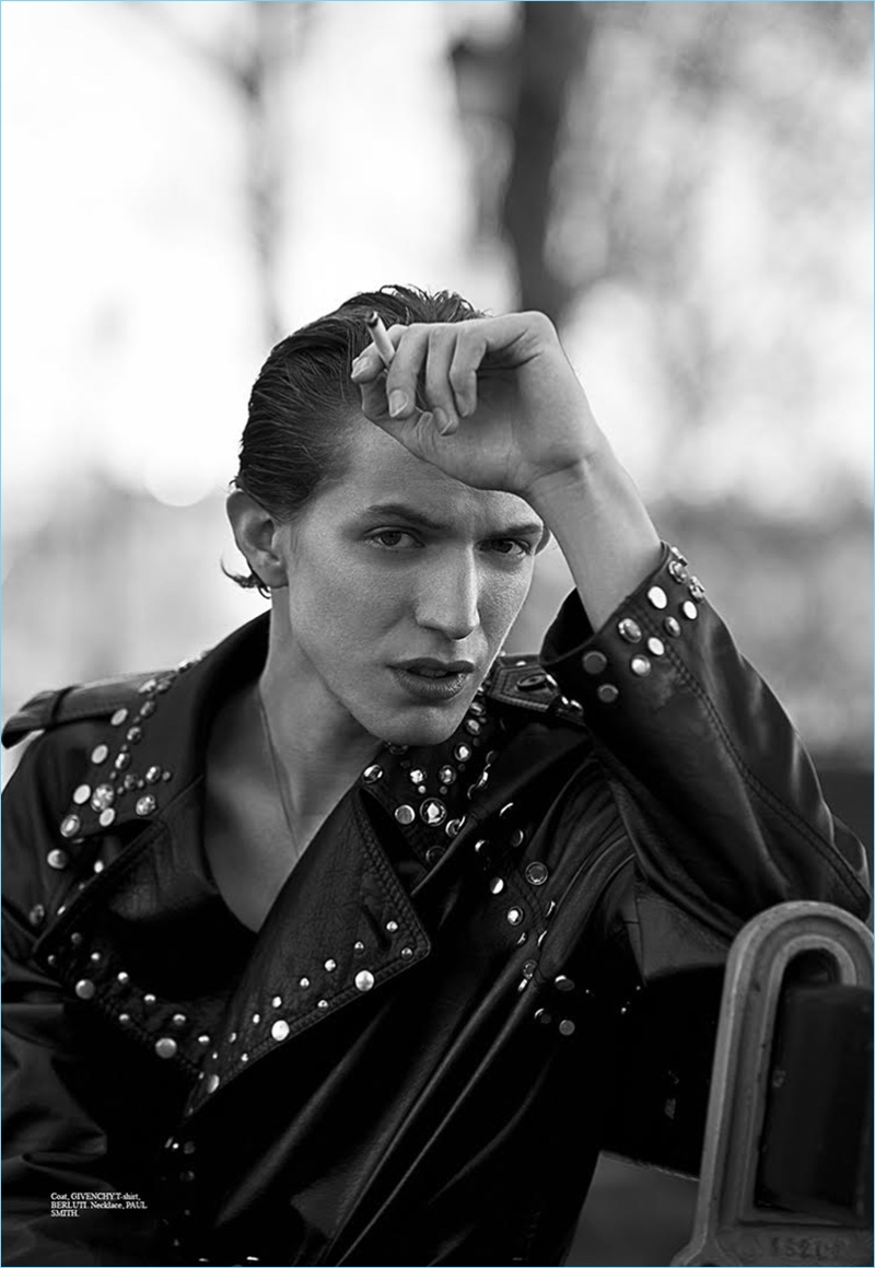 Christopher Campbell outfits Xavier Buestel in a Givenchy studded leather biker jacket. Xavier also wears a Berluti t-shirt and Paul Smith necklace.