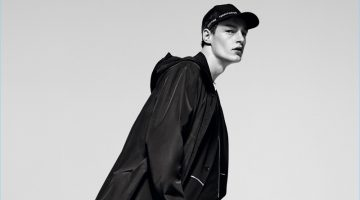 Roberto Sipos dons an oversized parka for Zara Man's spring-summer 2017 campaign.