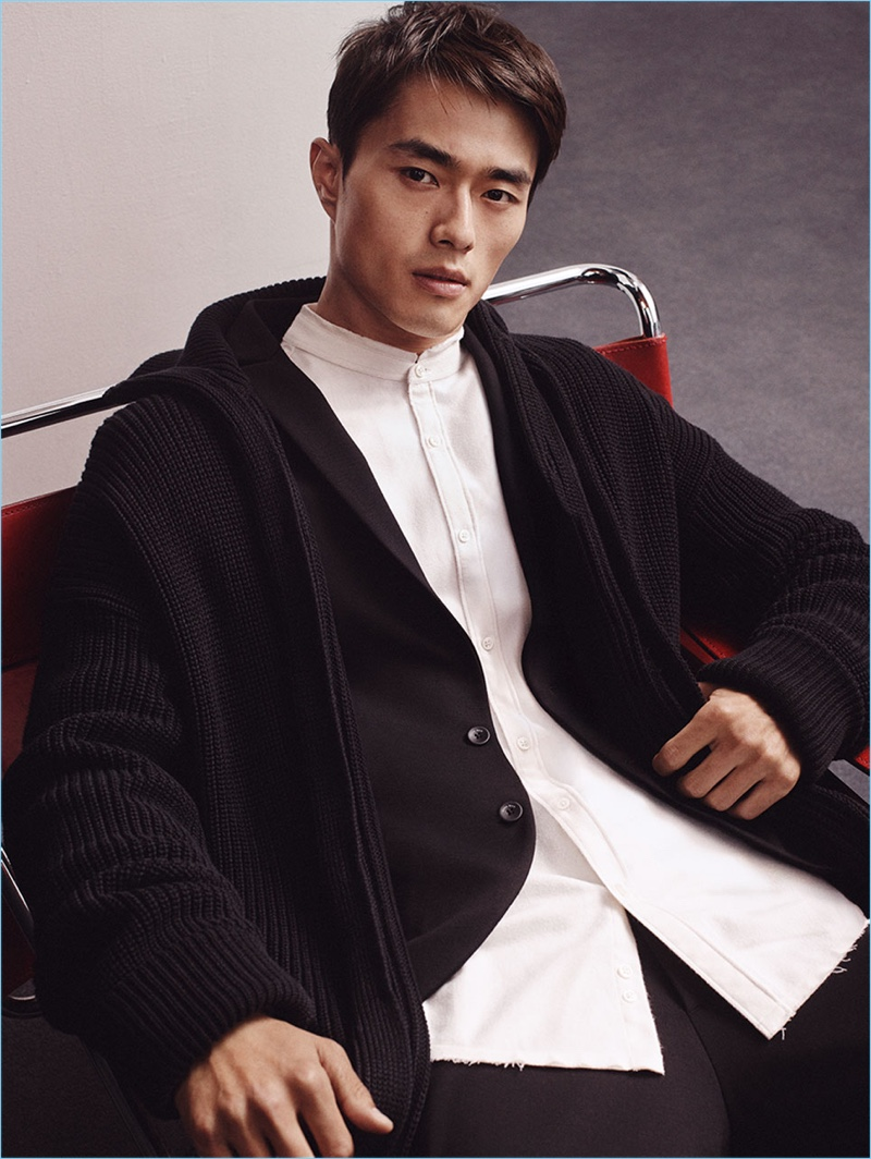 Zhao Lei is a chic vision in black and white look from Zara Man's Chinese New Year special collection.
