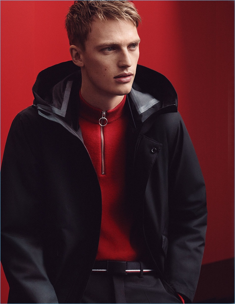 Victor Nylander rocks a red and black look by Zara Man, showcasing the brand's Chinese New Year special collection.